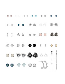 Fashion Color Arrow Star Alloy Stud Earring Set (30 Pairs)