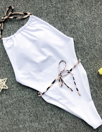 Fashion White Drawstring Contrast Print One-piece Swimsuit