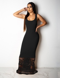 Fashion Black Splicing Openwork Lace Vest Dress