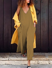 Fashion Earth Yellow Large Pocket V-neck Jumpsuit