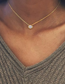 Fashion Gold Single Zircon Stainless Steel Necklace