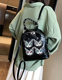 Black Cat Print Backpack