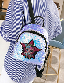 Star White Children's Cartoon Sequin Backpack