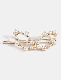 Gold Alloy Butterfly Pearl Hair Clip