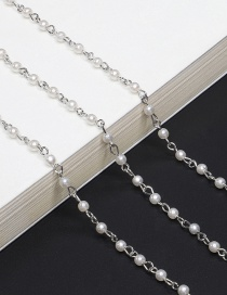 Silver Pearl Glasses Hanging Chain Necklace