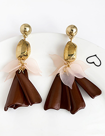 Brown Alloy Resin Leaves Tassel Earrings