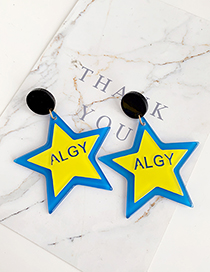 Blue + Yellow Resin Letter Pentagram Earrings