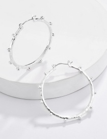 Fashion Silver Alloy Geometric Round Bead Earrings