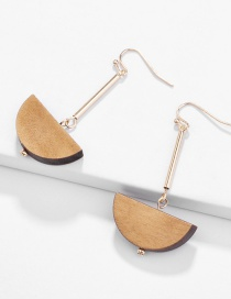 Fashion Gold Natural Semicircular Wood Geometric Earrings