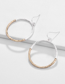 Fashion Gold Geometric Round Two-color Electroplated Cutout Earrings