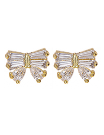Fashion Gold Copper Inlaid Zircon Bow Earrings