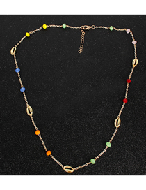 Fashion Color Metal Shell Glass Bead Link Necklace
