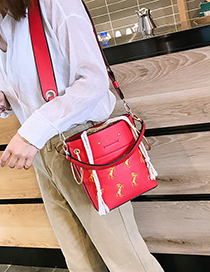 Fashion Red Pu Solid Color Shoulder Diagonal Package