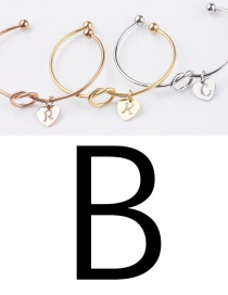 Fashion Golden B Stainless Steel Love Knotted English Letter Open Bracelet