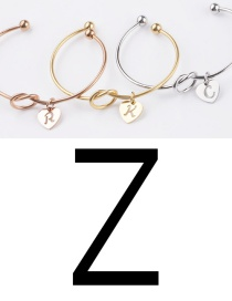 Fashion Golden Z Stainless Steel Love Knotted English Letter Open Bracelet