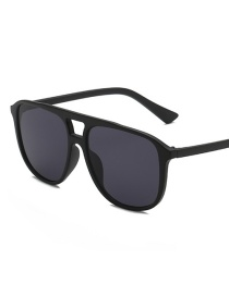Black Frame Gray Piece Big Box Square Sunglasses