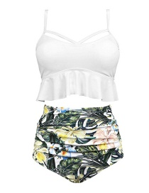 White + White Print Pants High Waist Printed Bikini