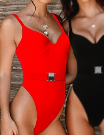 Red Belted Backless One-piece Swimsuit