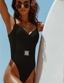 Black Belted Backless One-piece Swimsuit