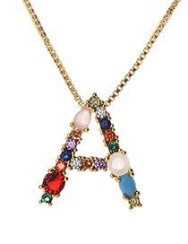 Multi-color Copper Inlaid Zircon Letter Necklace