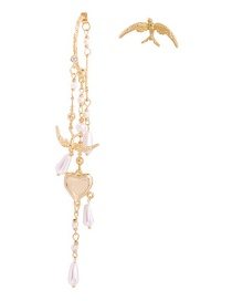Fashion Gold Alloy Pearl Bird Love Irregular Earrings