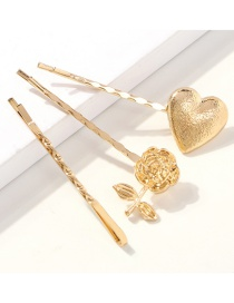 Fashion Golden Flower Alloy Flower Love Hair Clip Three-piece