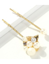 Fashion Golden Leaves Alloy Pearl Hair Clip 2 Piece Set