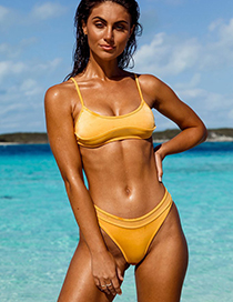 Fashion Yellow Mesh Stitching Split Swimsuit