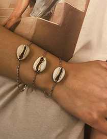 Fashion Gold Alloy Oil Natural Gold-plated Shell Bracelet Set