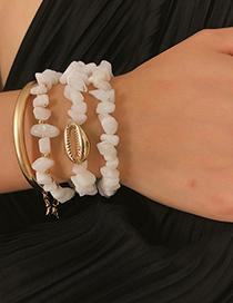 Fashion White Geometric Turquoise Shell Bend Bracelet Set