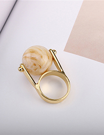 Fashion Gold Simulated Stone Road Rolling Bead Ring