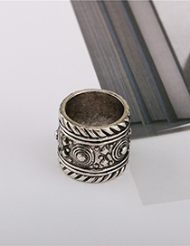 Fashion Silver Silver Old Carved Wide Ring
