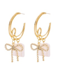 Fashion Gold Alloy Diamond Pearl Bow Earrings