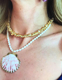 Fashion Gold Resin Pearl Shell Double Necklace