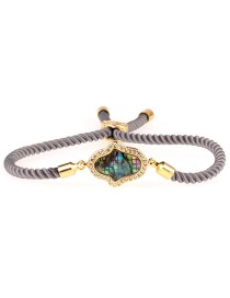 Fashion Gray Colorful Shell Copper Micro-inlaid Palm Milan Line Pull Bracelet