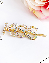 Fashion Ab Color Alloy Diamond Letter Kiss Hairpin