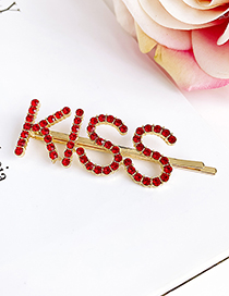Fashion Red Alloy Diamond Letter Kiss Hairpin