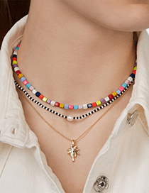 Fashion Color Alloy Rice Beads Colored Coconut Tree Necklace