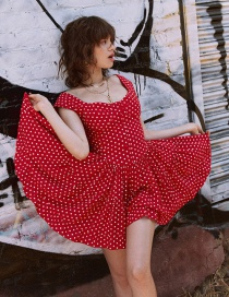 Fashion Red Dotted Square Collar Jumpsuit