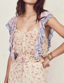 Fashion Color Color Matching Floral Top
