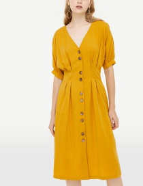 Fashion Yellow Solid Color Buckled V-neck Dress