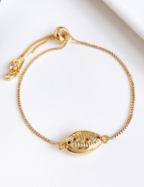 Fashion Gold Copper Inlaid Zircon Shell Bracelet