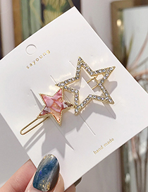Fashion Two Star Red Alloy Diamond Star Hollow Hairpin