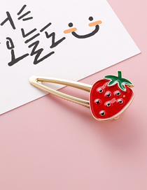 Fashion Strawberry Red Openwork Triangle Fruit Hairpin