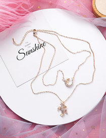 Fashion Gold Diamond Unicorn Star Moon Double Layer Necklace