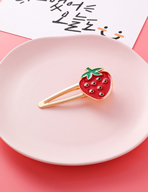 Fashion Strawberry Gold Fruit Alloy Hair Clip