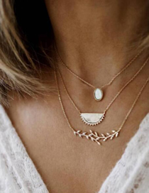 Fashion Gold Water Droplets: Opal Twigs: Leaves: Semicircle: Multi-layer Necklace