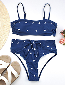 Fashion Dark Blue Heart-shaped Printed Pants With A Split Swimsuit