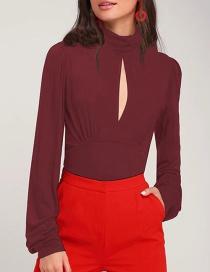 Fashion Red Wine High Neck Open Chest Folds Milk Silk T-shirt