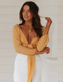 Fashion Yellow Lace-up Sleeves Chiffon Shirt